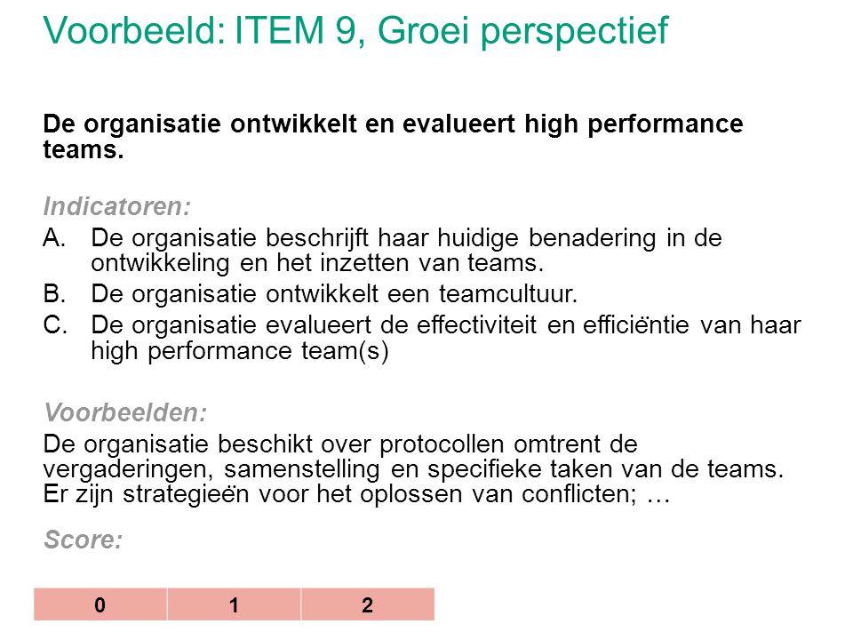 Voorbeeld: ITEM 9, Groei perspectief