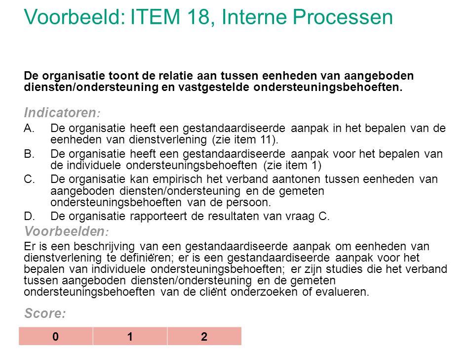 Voorbeeld: ITEM 18, Interne Processen