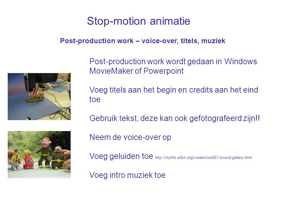 Stop-motion animatie Post-production work wordt gedaan in Windows
