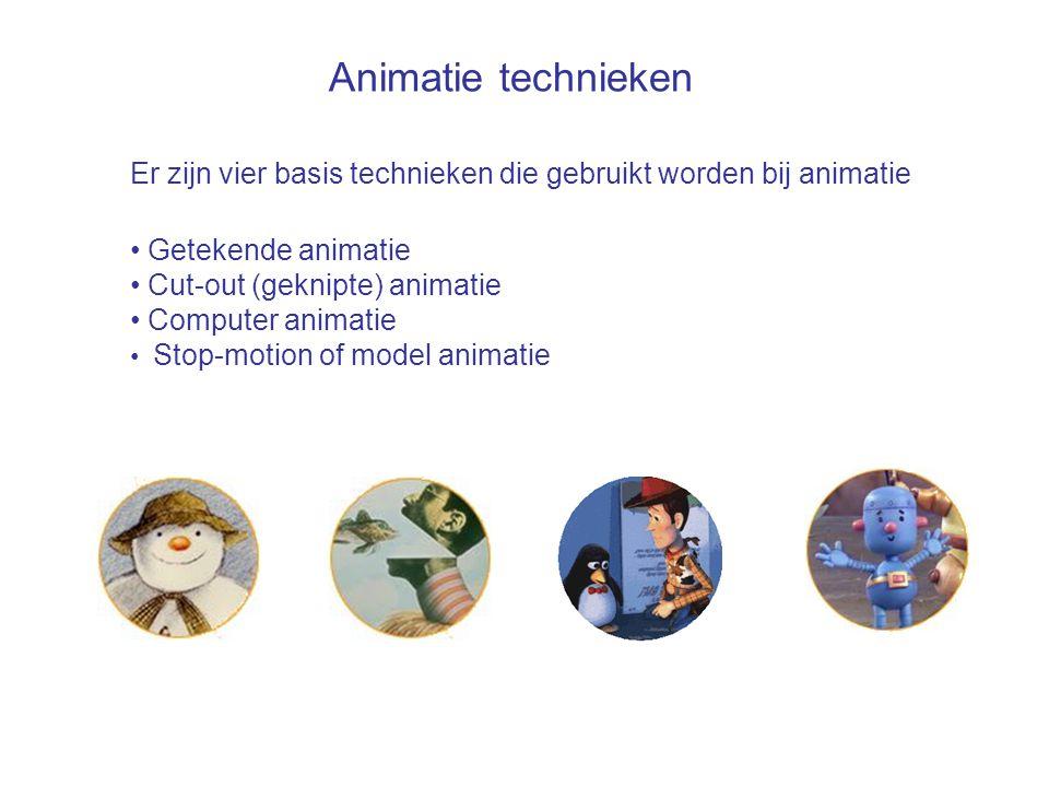 Animatie technieken Er zijn vier basis technieken die gebruikt worden bij animatie. Getekende animatie.