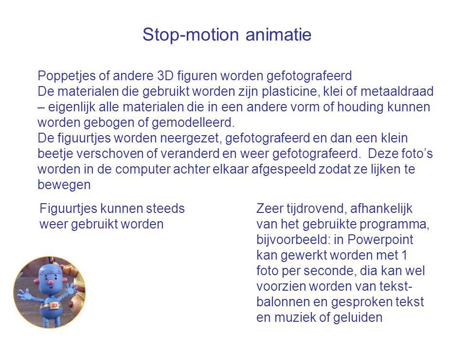 Stop-motion animatie Poppetjes of andere 3D figuren worden gefotografeerd.