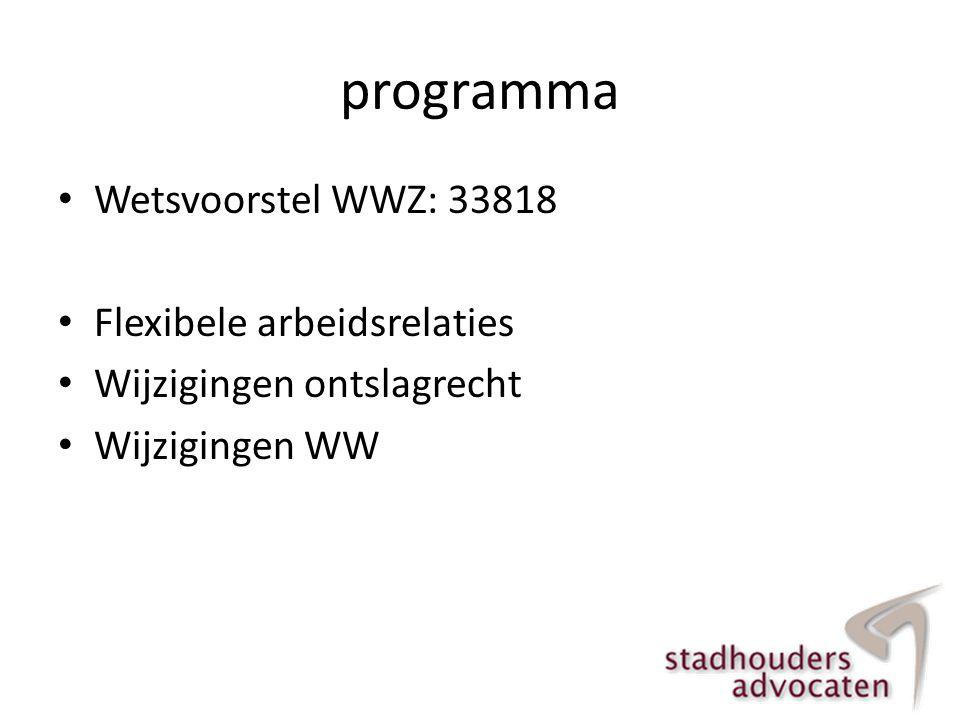 programma Wetsvoorstel WWZ: 33818 Flexibele arbeidsrelaties