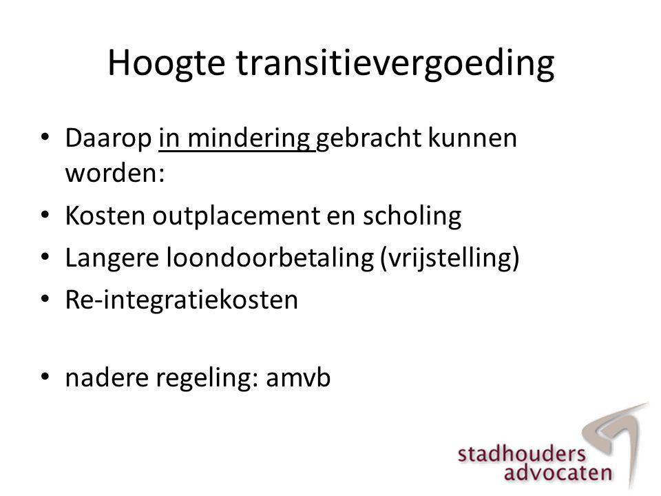Hoogte transitievergoeding