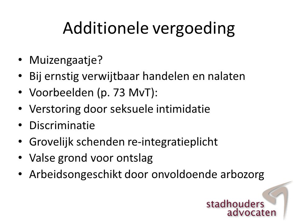 Additionele vergoeding