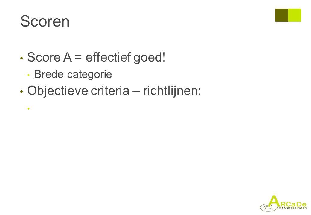 Scoren Score A = effectief goed! Objectieve criteria – richtlijnen: