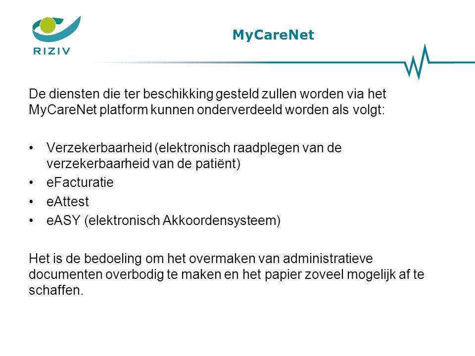 MyCareNet De diensten die ter beschikking gesteld zullen worden via het MyCareNet platform kunnen onderverdeeld worden als volgt: