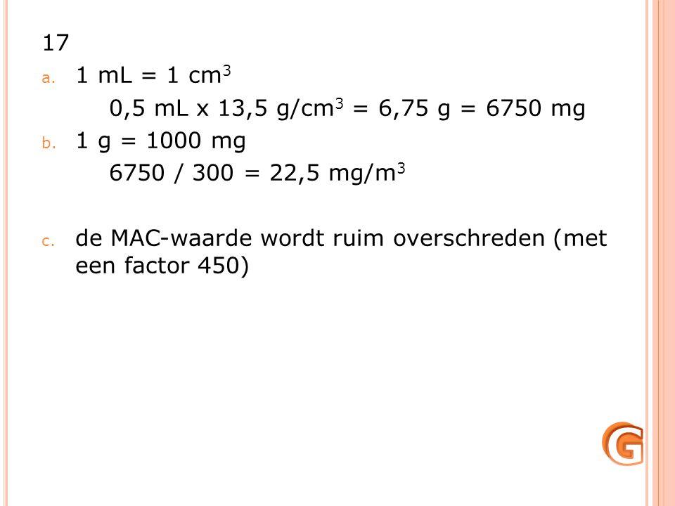 G 17 1 mL = 1 cm3 0,5 mL x 13,5 g/cm3 = 6,75 g = 6750 mg 1 g = 1000 mg