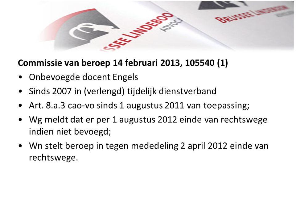Commissie van beroep 14 februari 2013, 105540 (1)