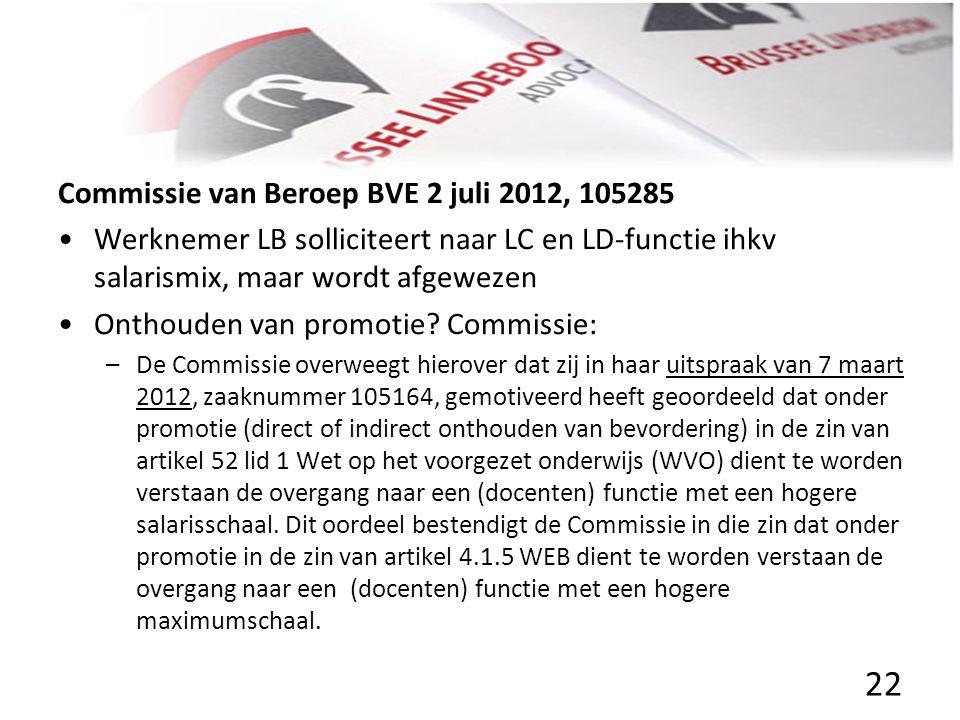 Commissie van Beroep BVE 2 juli 2012, 105285