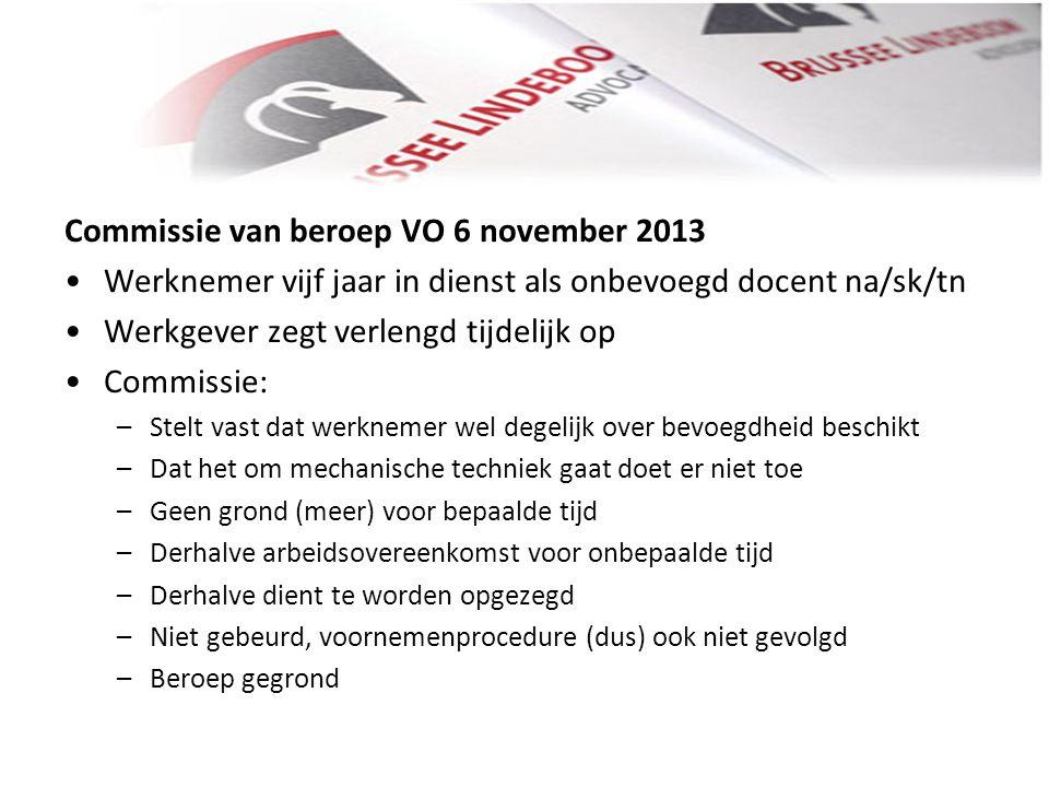 Commissie van beroep VO 6 november 2013