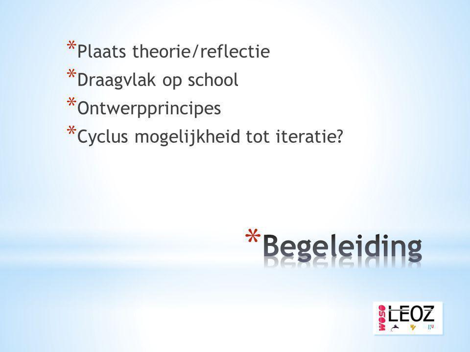 Begeleiding Plaats theorie/reflectie Draagvlak op school