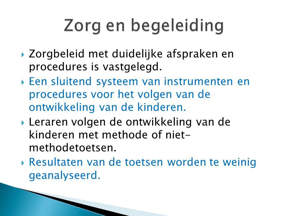 Zorg en begeleiding Zorgbeleid met duidelijke afspraken en procedures is vastgelegd.