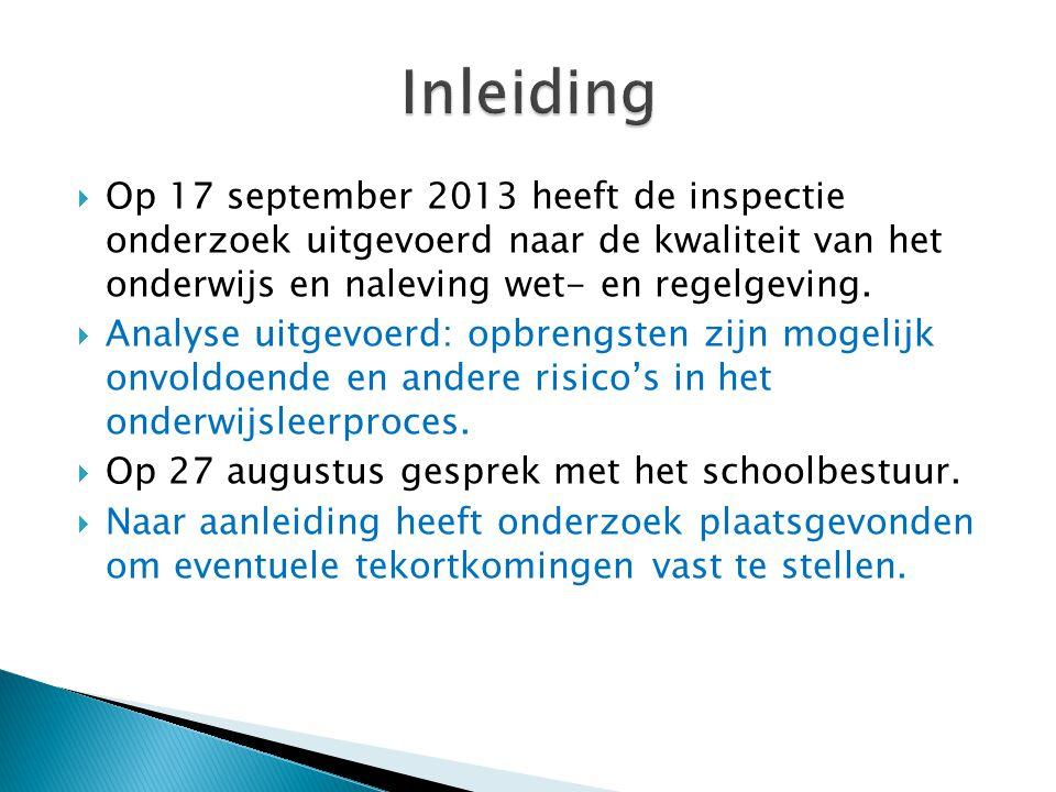 Inleiding Op 17 september 2013 heeft de inspectie onderzoek uitgevoerd naar de kwaliteit van het onderwijs en naleving wet- en regelgeving.