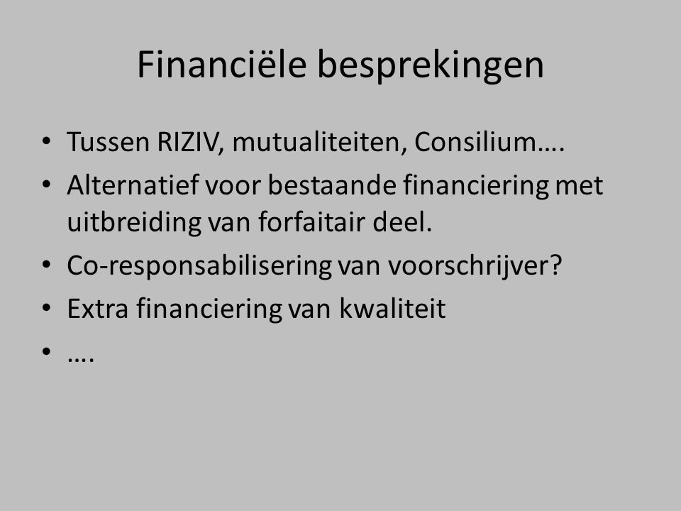 Financiële besprekingen