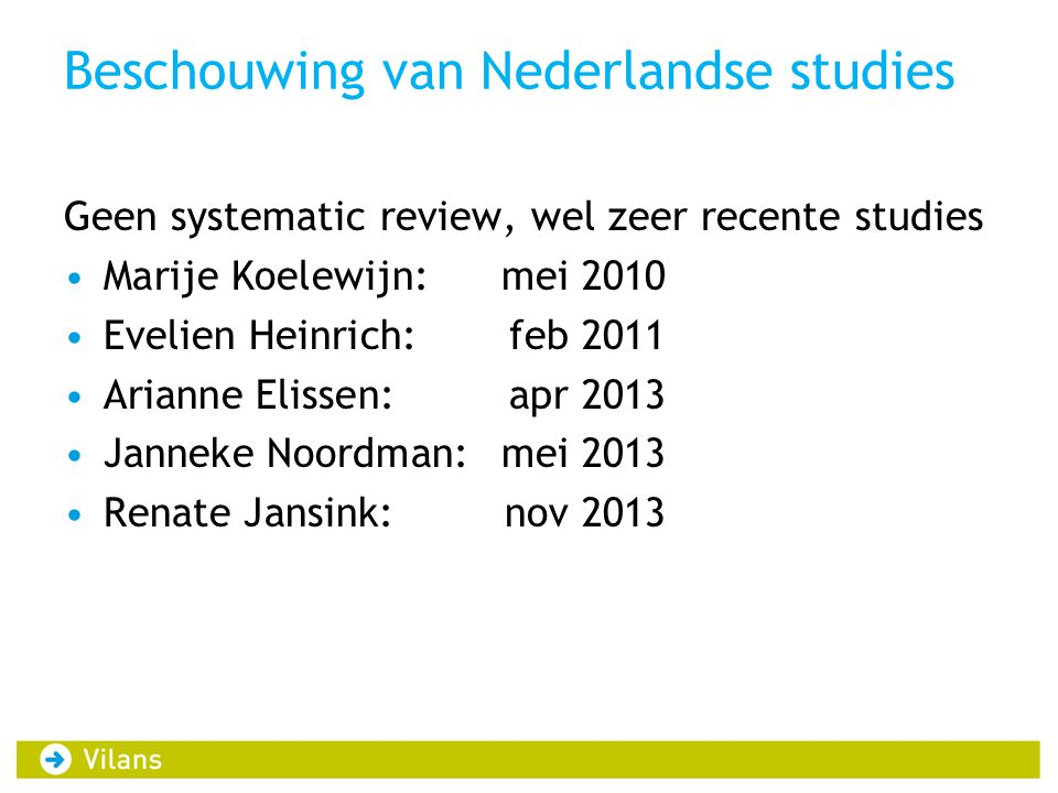 Beschouwing van Nederlandse studies