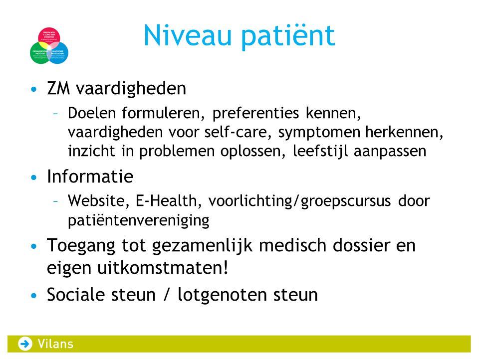 Niveau patiënt ZM vaardigheden Informatie