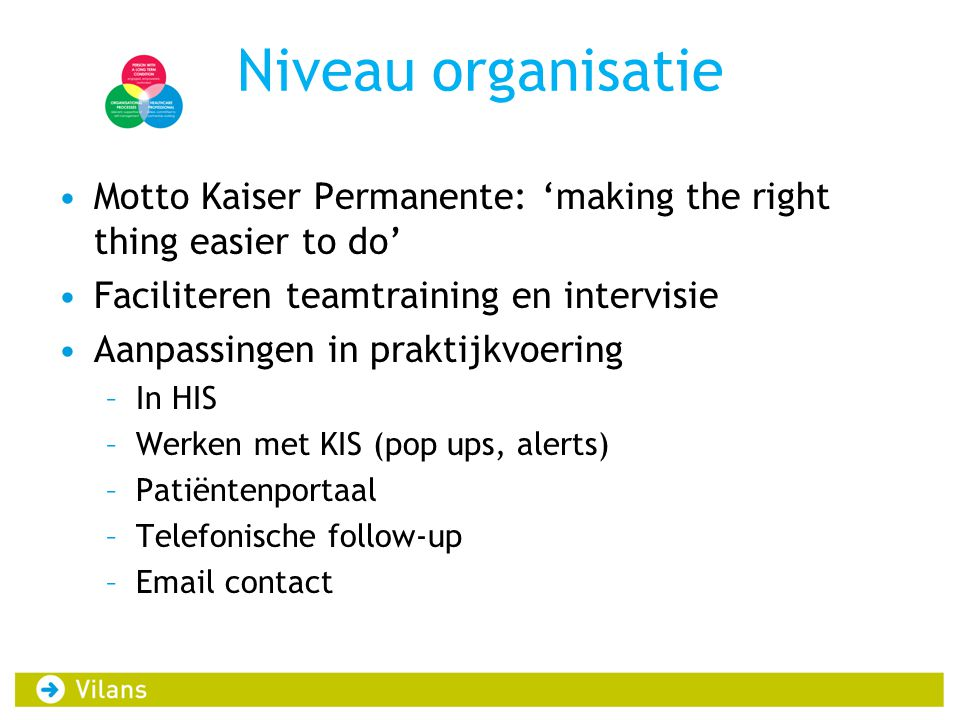 Niveau organisatie Motto Kaiser Permanente: 'making the right thing easier to do' Faciliteren teamtraining en intervisie.