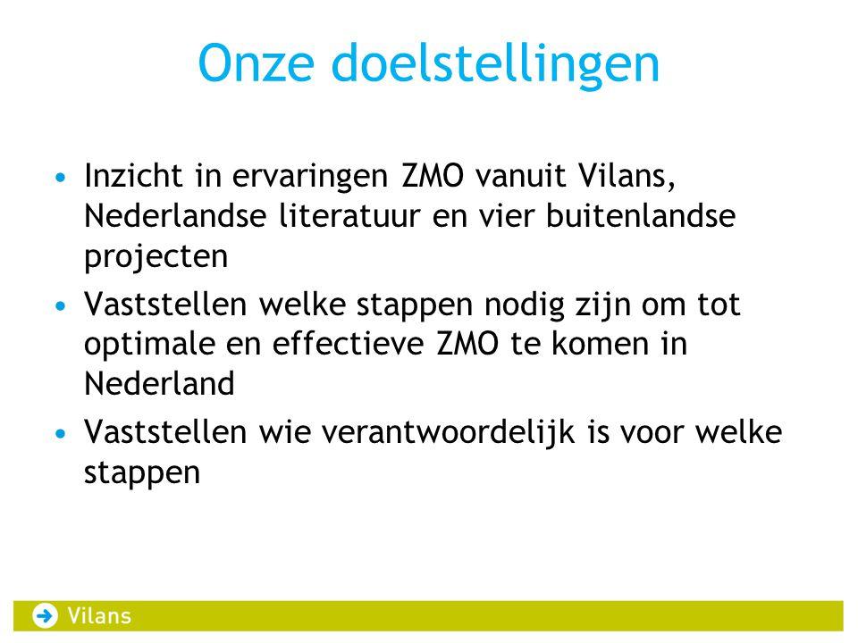 Onze doelstellingen Inzicht in ervaringen ZMO vanuit Vilans, Nederlandse literatuur en vier buitenlandse projecten.
