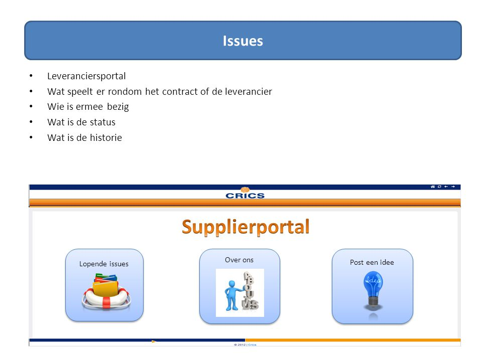Issues Supplierportal Issues Leveranciersportal