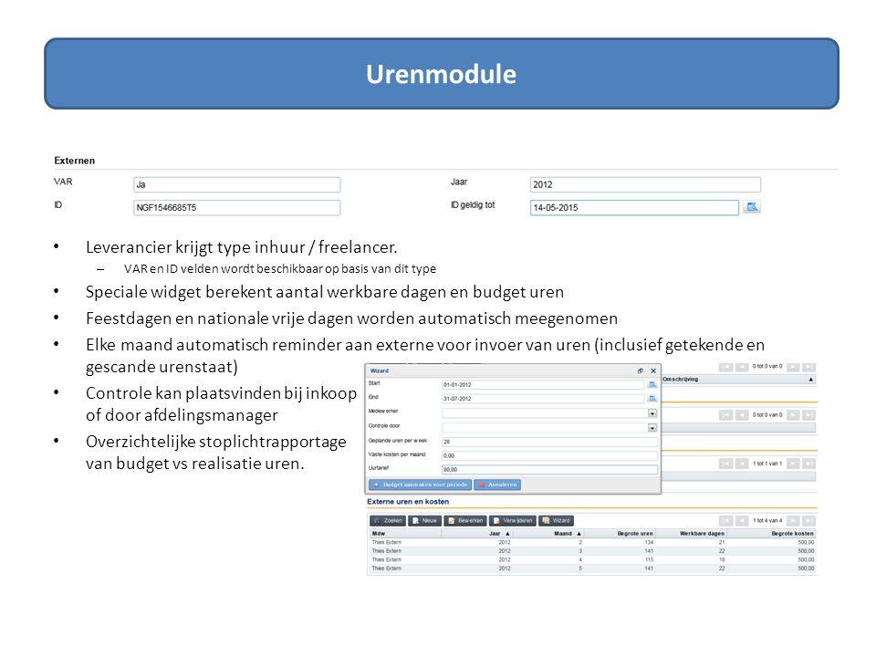 Urenmodule Leverancier krijgt type inhuur / freelancer.