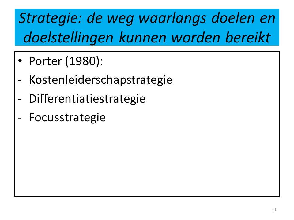 Strategie: de weg waarlangs doelen en doelstellingen kunnen worden bereikt