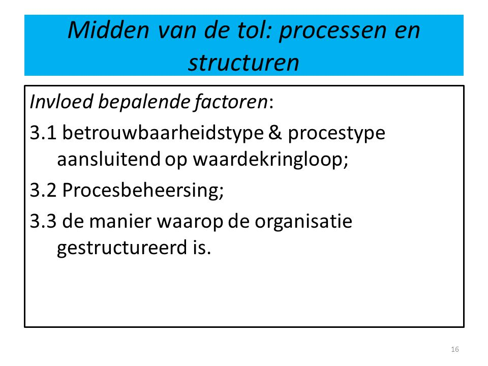 Midden van de tol: processen en structuren