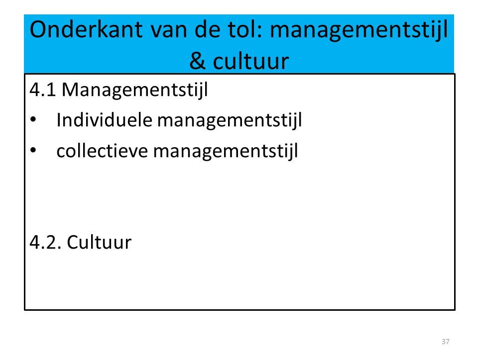 Onderkant van de tol: managementstijl & cultuur