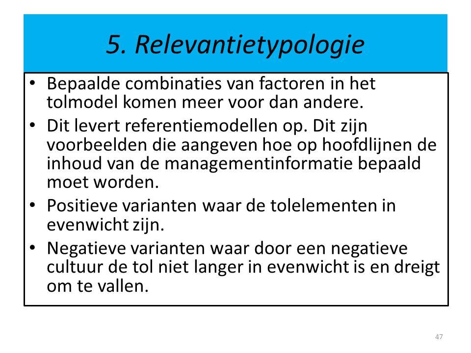 5. Relevantietypologie Bepaalde combinaties van factoren in het tolmodel komen meer voor dan andere.