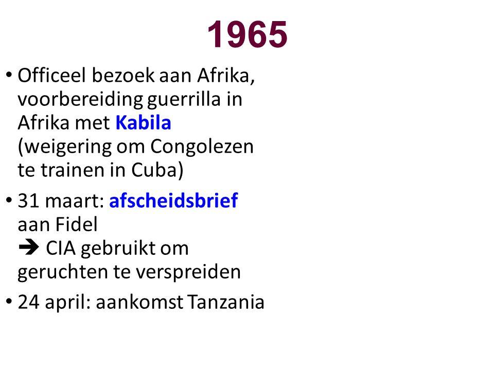 1965 Officeel bezoek aan Afrika, voorbereiding guerrilla in Afrika met Kabila (weigering om Congolezen te trainen in Cuba)