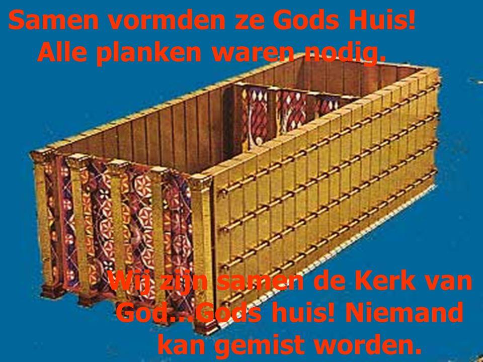 Samen vormden ze Gods Huis! Alle planken waren nodig.