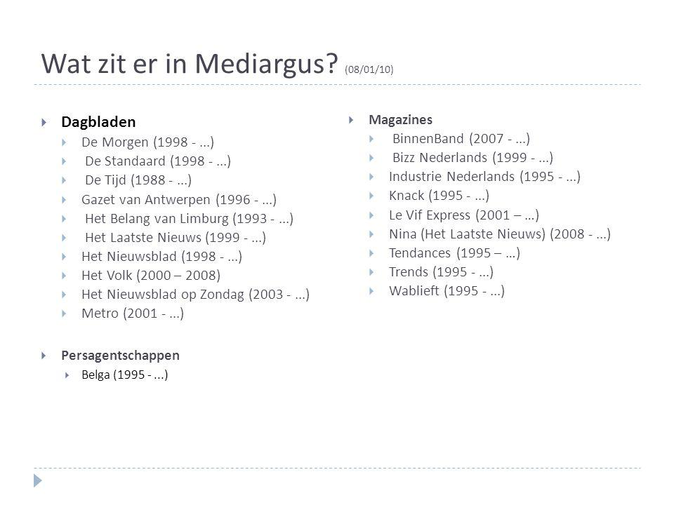 Wat zit er in Mediargus (08/01/10)