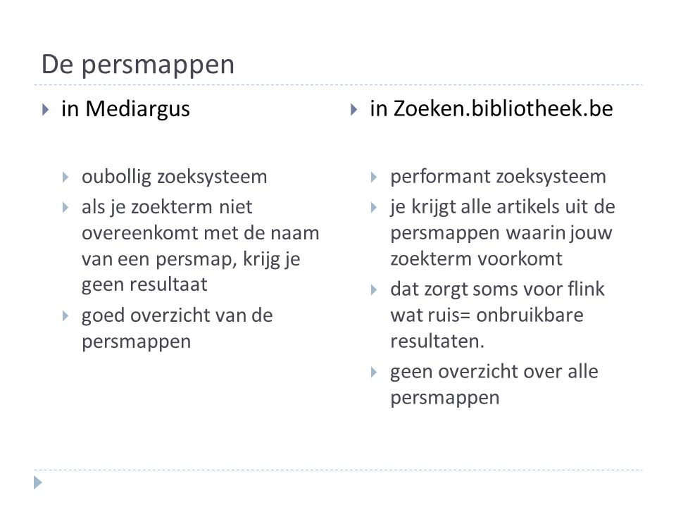 De persmappen in Mediargus in Zoeken.bibliotheek.be