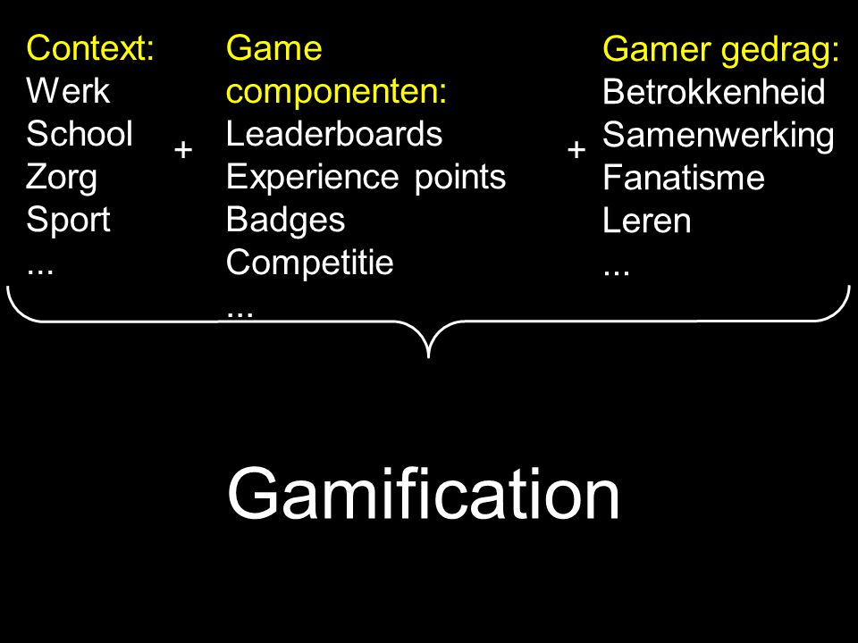 Gamification Context: Werk School Zorg Sport ... Game componenten: