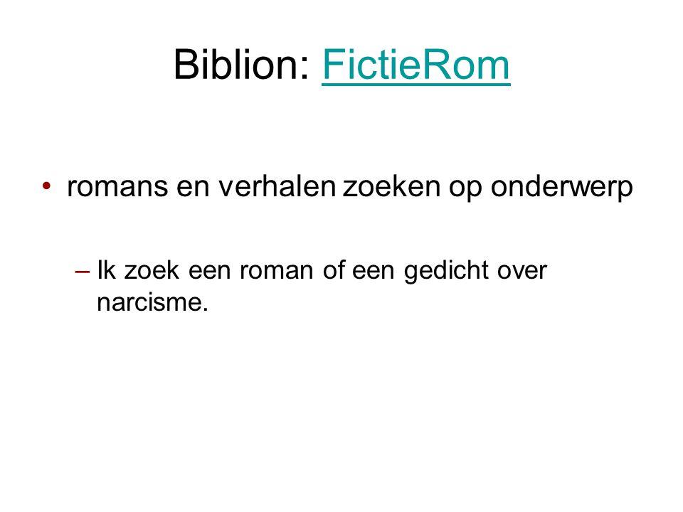 Biblion: FictieRom romans en verhalen zoeken op onderwerp