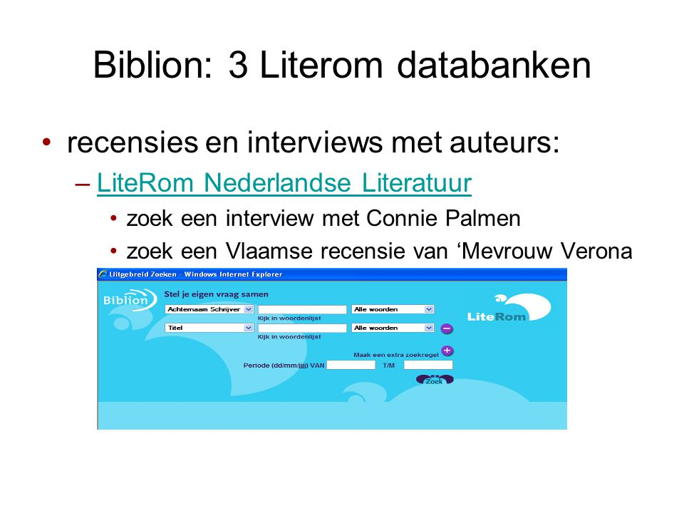 Biblion: 3 Literom databanken