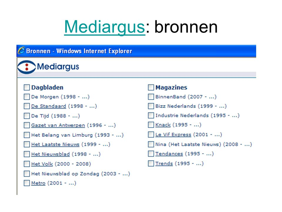 Mediargus: bronnen