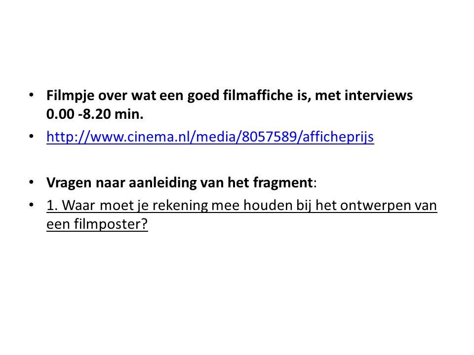 Filmpje over wat een goed filmaffiche is, met interviews 0. 00 -8