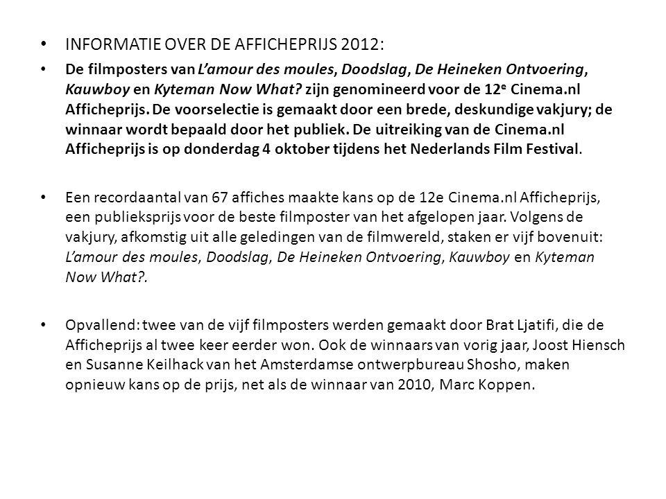 INFORMATIE OVER DE AFFICHEPRIJS 2012: