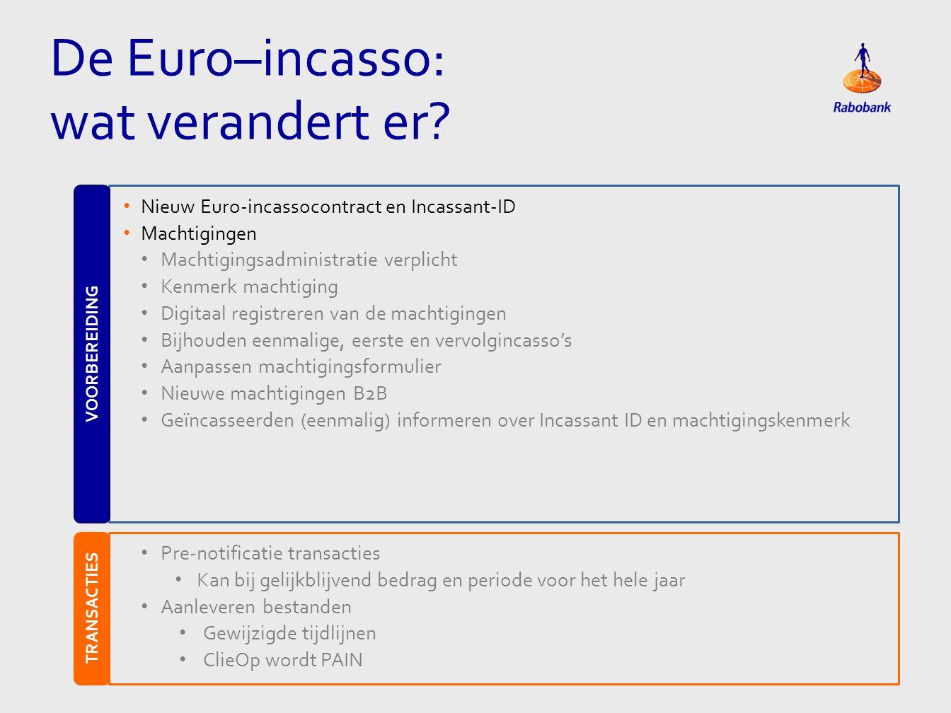 De Euro–incasso: wat verandert er