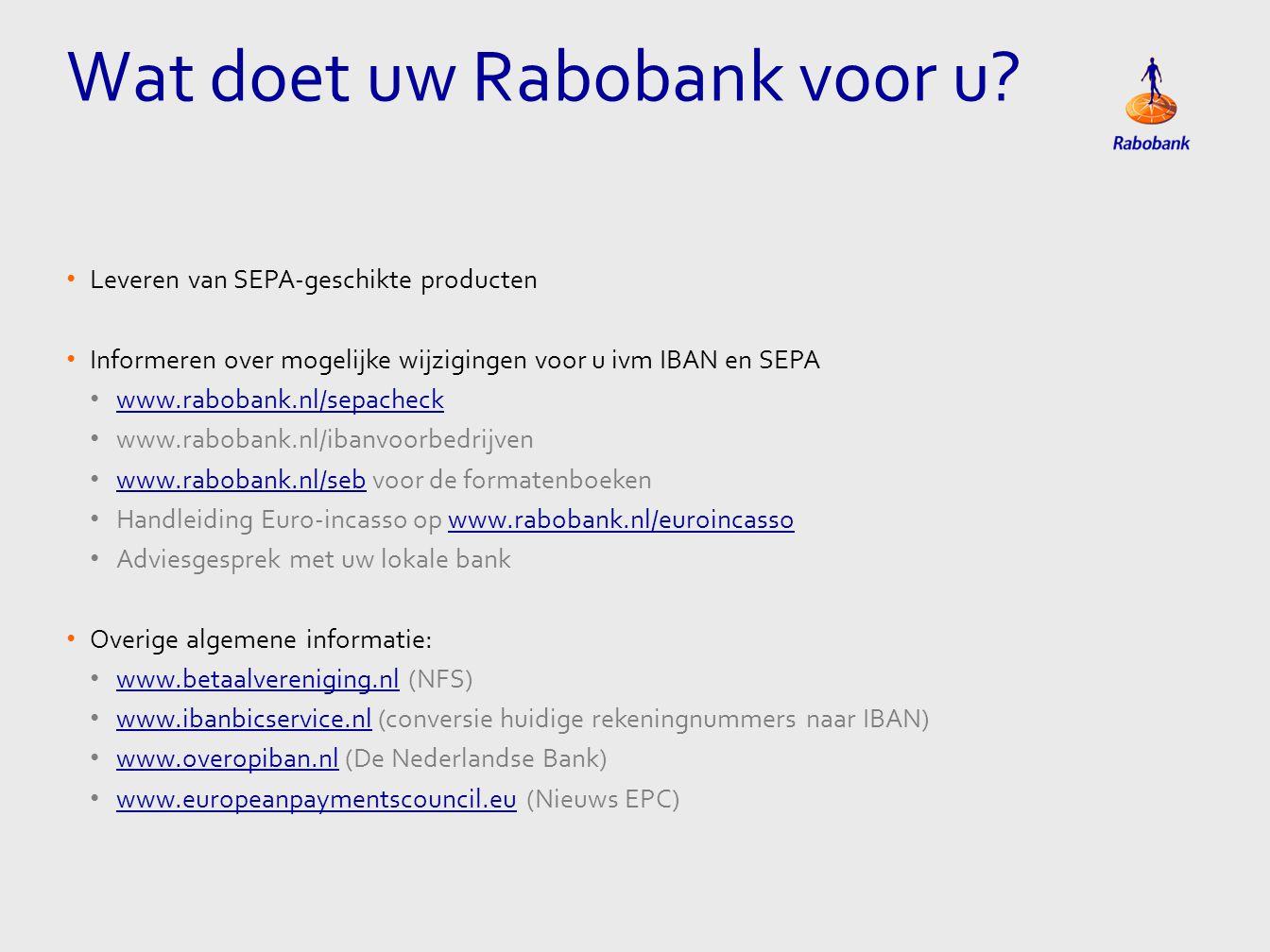 Wat doet uw Rabobank voor u