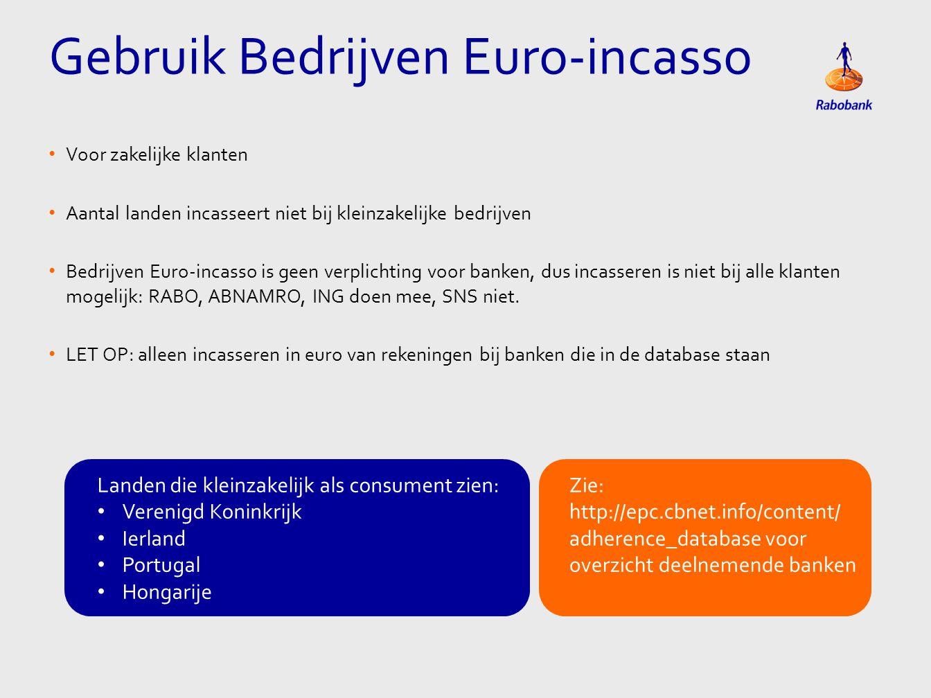 Gebruik Bedrijven Euro-incasso