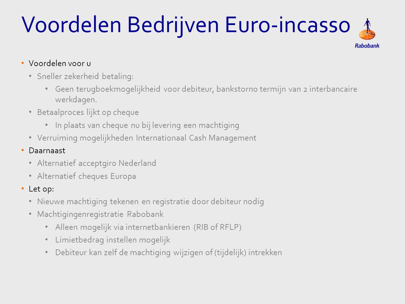 Voordelen Bedrijven Euro-incasso