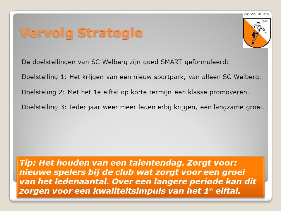 Vervolg Strategie De doelstellingen van SC Welberg zijn goed SMART geformuleerd: