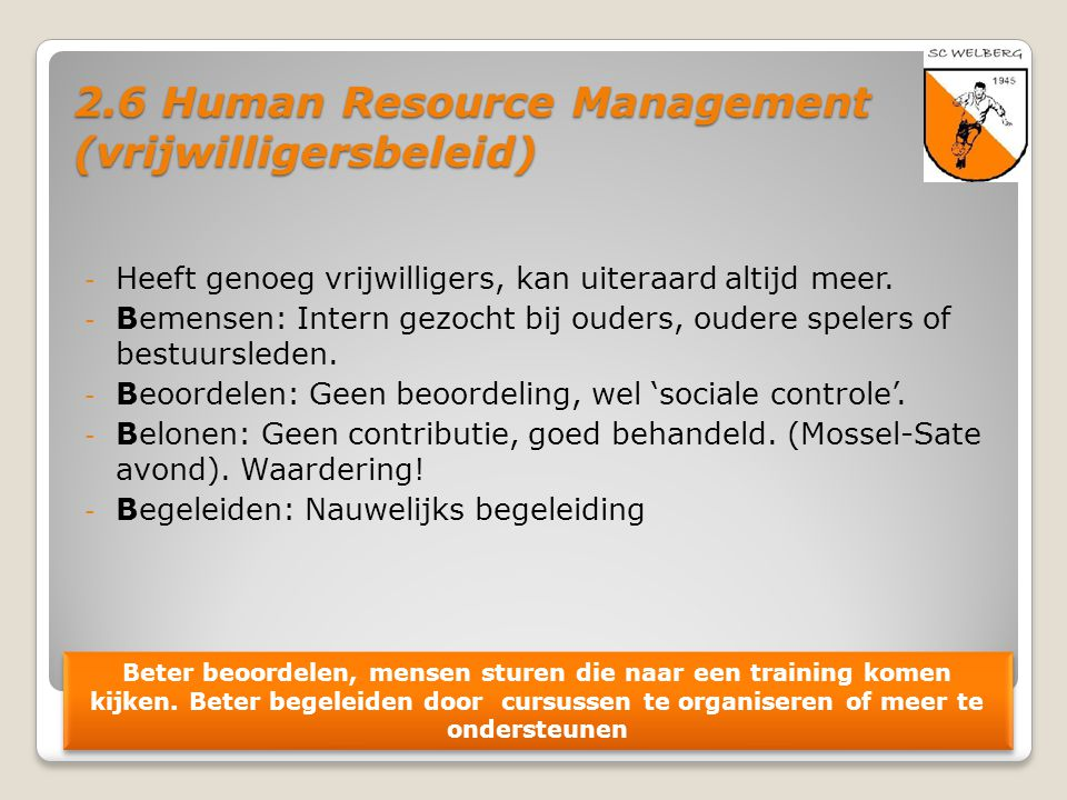 2.6 Human Resource Management (vrijwilligersbeleid)