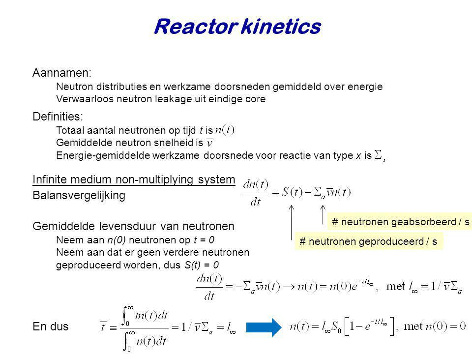 Reactor kinetics Aannamen: Definities: