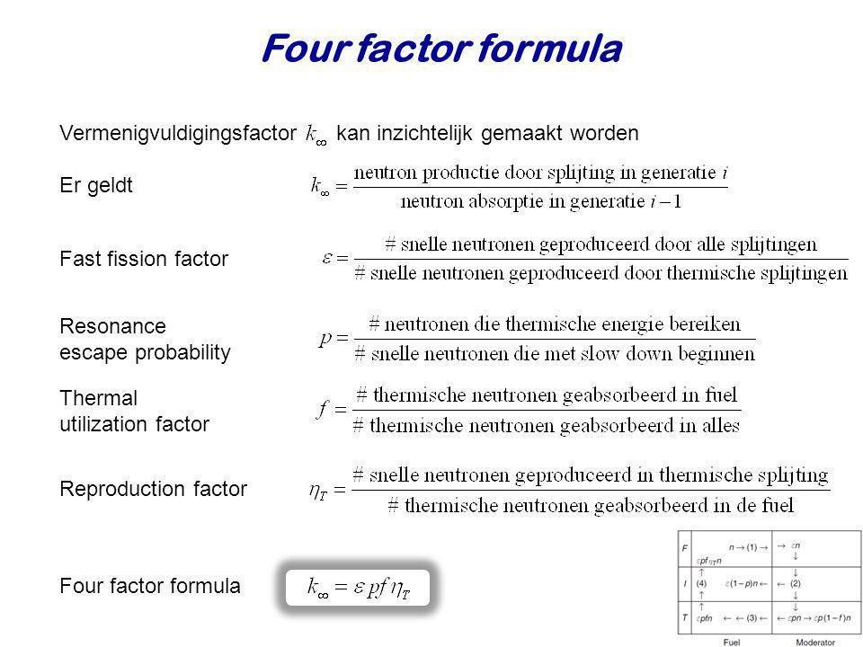 Four factor formula Vermenigvuldigingsfactor kan inzichtelijk gemaakt worden. Er geldt. Fast fission factor.