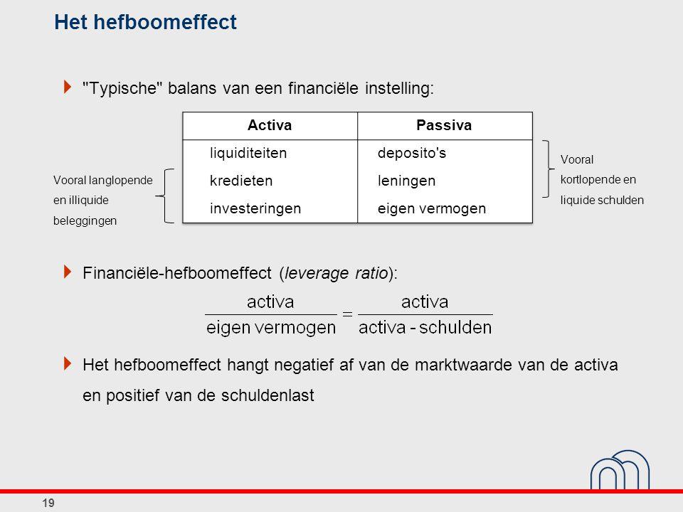 Het hefboomeffect Typische balans van een financiële instelling: