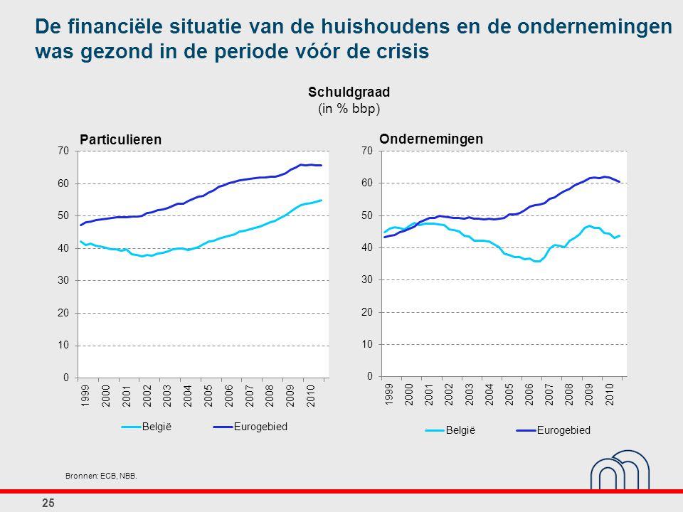 De financiële situatie van de huishoudens en de ondernemingen was gezond in de periode vóór de crisis
