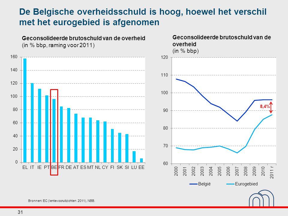 De Belgische overheidsschuld is hoog, hoewel het verschil met het eurogebied is afgenomen