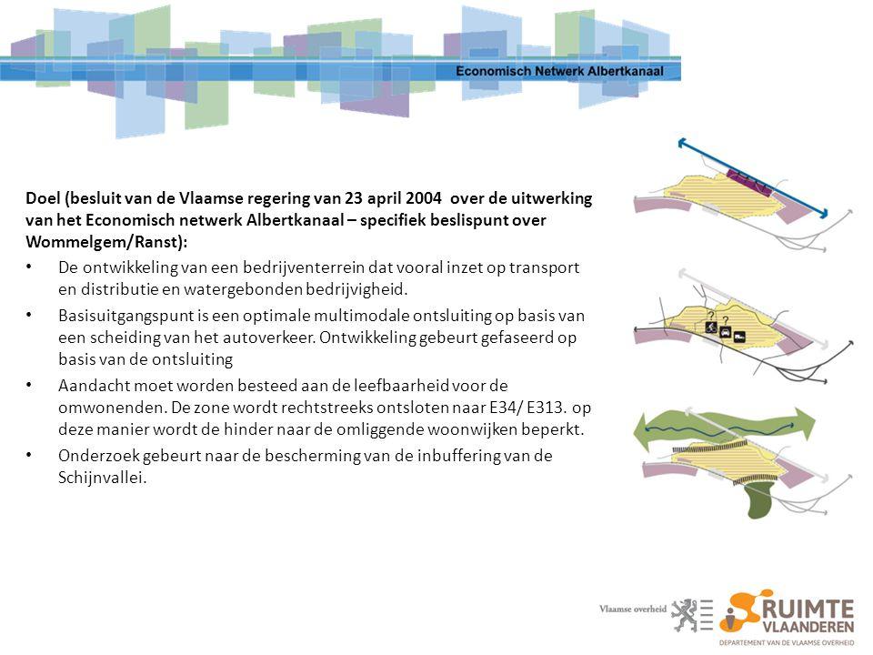 Doel (besluit van de Vlaamse regering van 23 april 2004 over de uitwerking van het Economisch netwerk Albertkanaal – specifiek beslispunt over Wommelgem/Ranst):